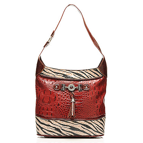 712-877 - Madi Claire Croco Embossed Leather ''Samantha'' Zebra Print Hobo Handbag