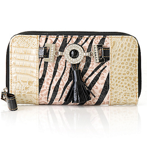 712-878 - Madi Claire Croco Embossed Leather ''Samantha'' Zebra Print Wallet