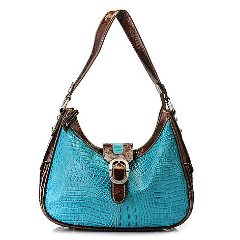 712-879 - Madi Claire Croco Embossed Leather ''Tracy'' Buckle Detailed Hobo Handbag