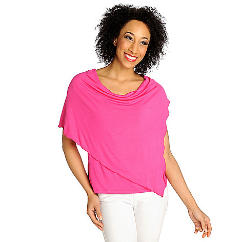 712-889 - Kate & Mallory Stretch Knit Dolman Sleeved Drape Front Top