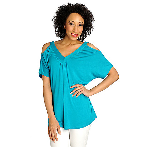 712-895 - Kate & Mallory Stretch Knit Cold Shoulder V-Neck Top