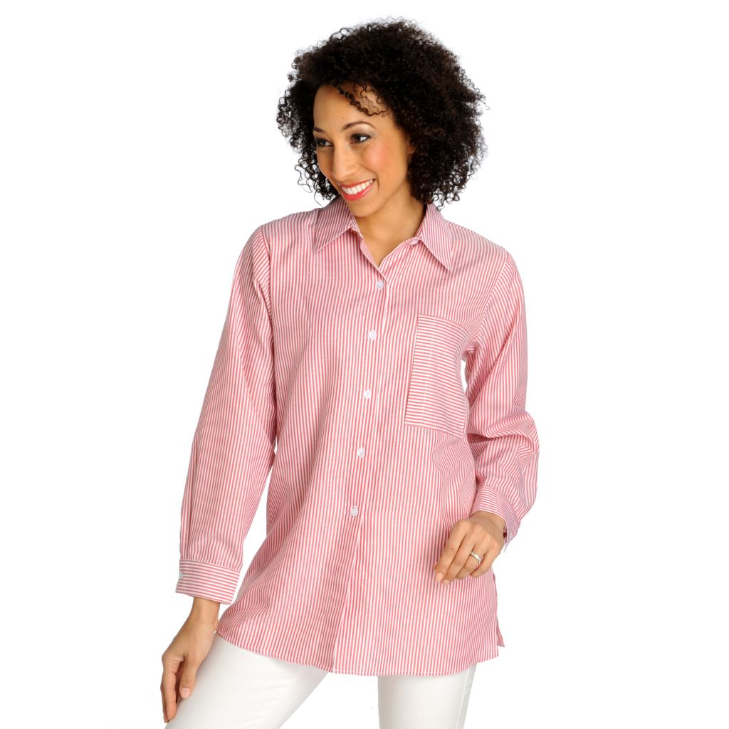 712-901 - OSO Casuals Woven Stripe Long Sleeved Button Down Tunic
