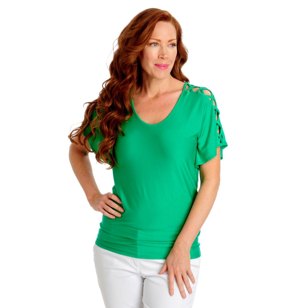 712-904 - Geneology Stretch Knit Lattice Sleeved Scoop Neck Top