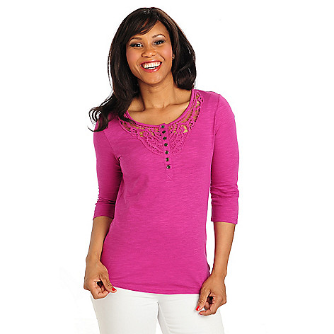 712-909 - OSO Casuals Stretch Knit Tab Sleeved Henley Neck Tunic