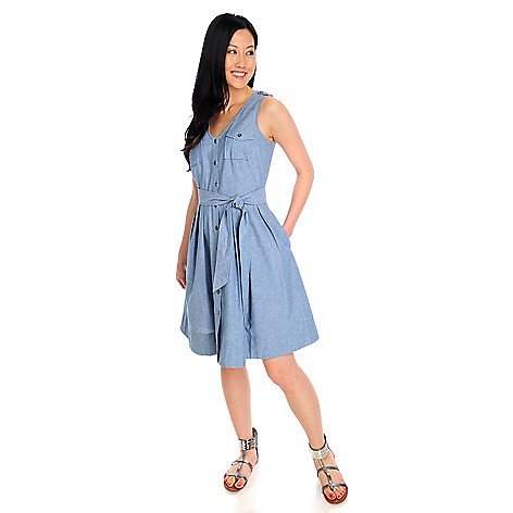 712-911 - OSO Casuals Woven Chambray Sleeveless Crochet Back Yoke Shirt Dress
