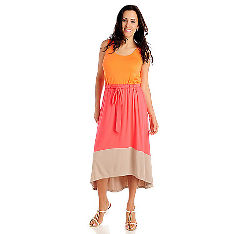 712-912 - Kate & Mallory Stretch Knit Sleeveless Tie-Waist Hi-Lo Maxi Dress