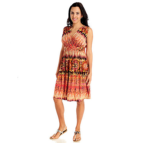 712-915 - Kate & Mallory Stretch Knit Sleeveless Braided Waist Flip Flop Dress