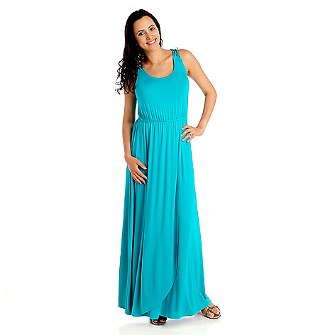 712-919 - Kate & Mallory Stretch Knit Sleeveless Crochet Back Maxi Dress