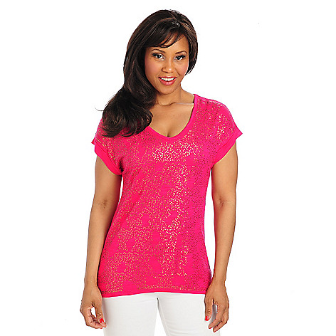 712-928 - Glitterscape Slub Knit Dolman Sleeved V-Neck Sequined Top