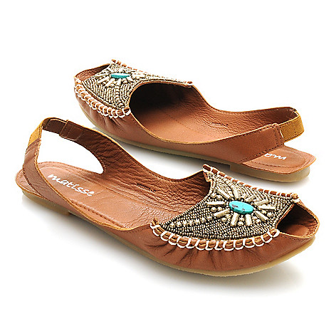 712-930 - Matisse® Leather ''Medina'' Embellished Peep Toe Sling Backs