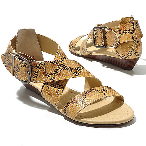 712-935 - Matisse® ''Belmont'' Crisscross Strap Buckle Detailed Low Wedge Sandals