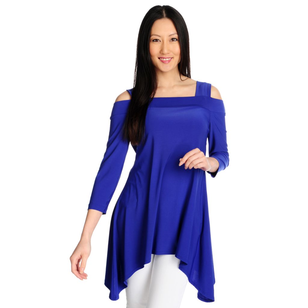 712-941 - Kate & Mallory Stretch Knit Cold Shoulder Sharkbite Hem Tunic