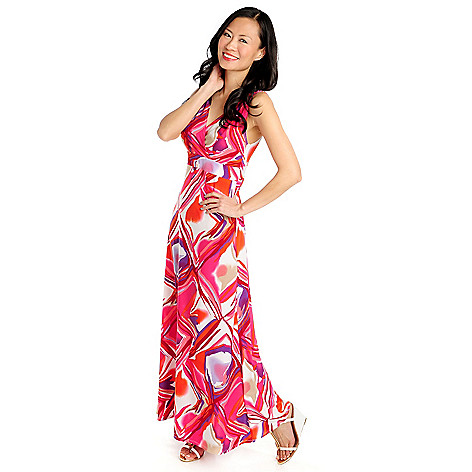 712-945 - Kate & Mallory Stretch Knit Sleeveless Faux Wrap Maxi Dress