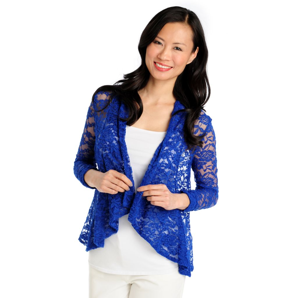712-949 - Kate & Mallory Stretch Lace 3/4 Sleeved Drape Front Jacket