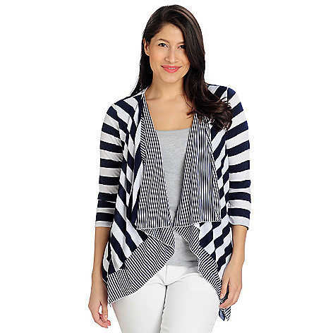 712-950 - Kate & Mallory Stretch Knit 3/4 Sleeved Cascade Front Striped Cardigan