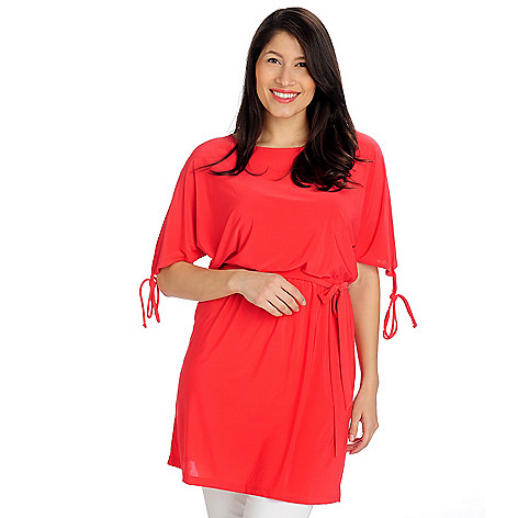 712-955 - Kate & Mallory Stretch Knit Cold Shoulder Tie Waisted Blouson Dress