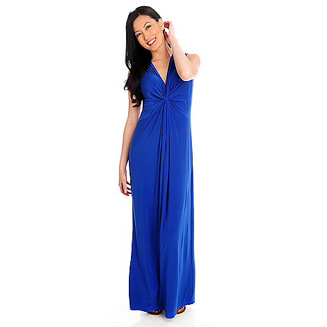 712-957 - Kate & Mallory® Stretch Knit Sleeveless Gathered Front Maxi Dress