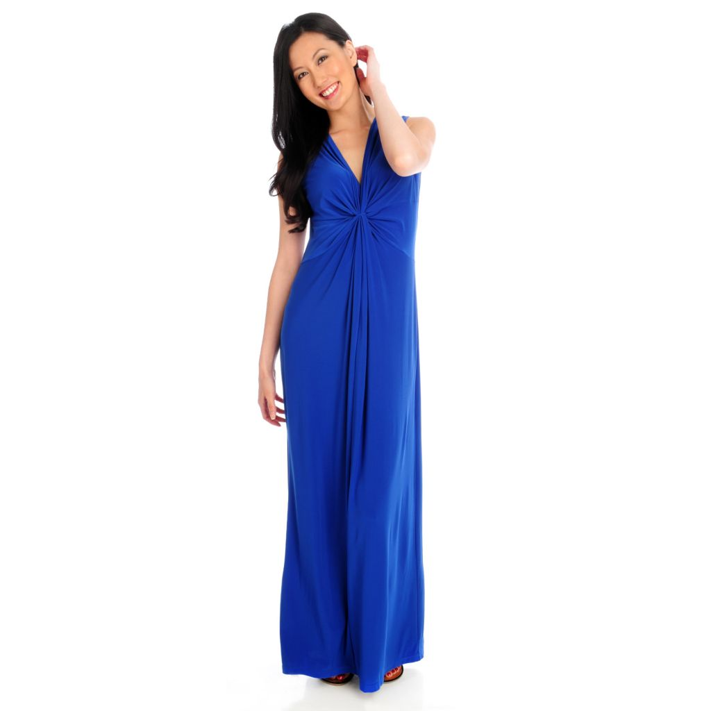 712-957 - Kate & Mallory Stretch Knit Sleeveless Gathered Front Maxi Dress