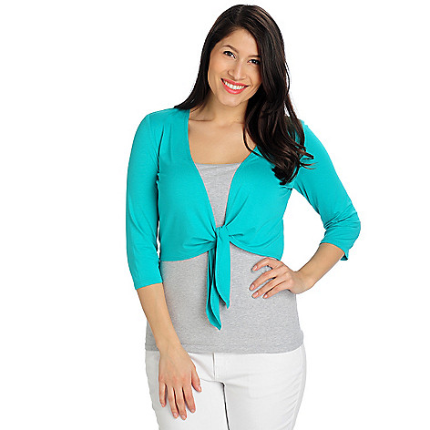712-961 - aDRESSing WOMAN Stretch Knit 3/4 Sleeved Tie Front Cropped Shrug