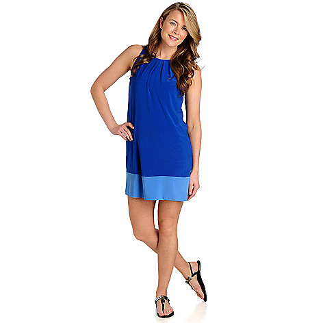 712-964 - aDRESSing WOMAN Stretch Knit Sleeveless Pleated Neck Color Block Dress