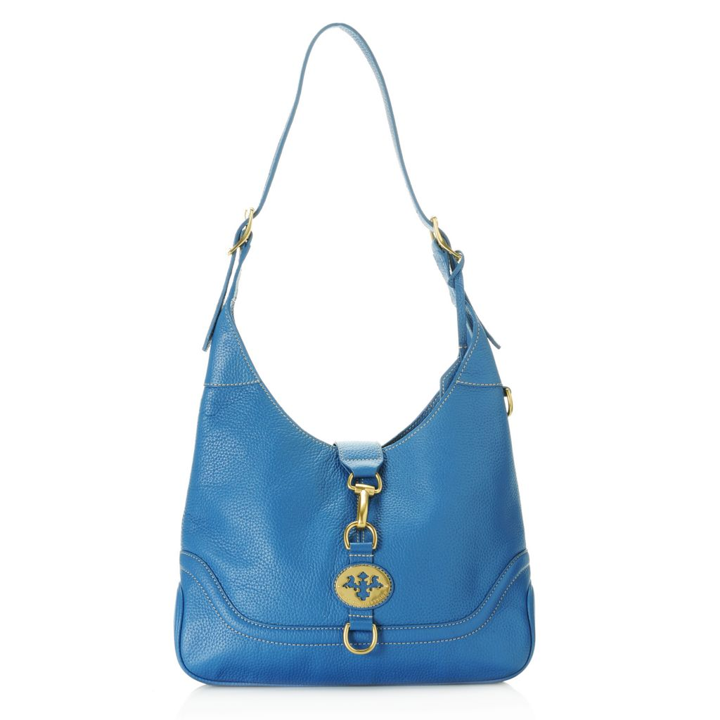 712-966 - PRIX DE DRESSAGE Pebbled Leather Buckle Detailed Hobo Handbag