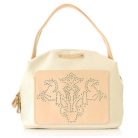 712-975 - PRIX DE DRESSAGE Canvas & Leather Perforated Double Handle Zip Top Satchel
