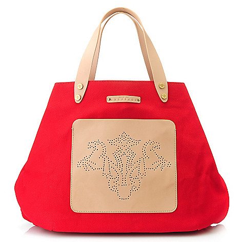 712-976 - PRIX DE DRESSAGE Canvas & Leather Perforated Large Tote Bag w/ Hook Closure