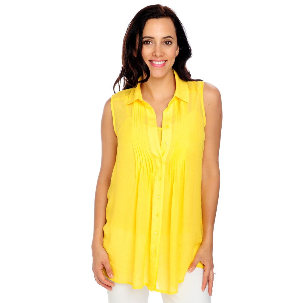 712-979 - Geneology Gauze Sleeveless Pleated Front Tunic w/ Cami