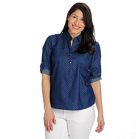 712-990 - OSO Casuals Twill Roll Tab Sleeved Half Placket Polka Dot Shirt