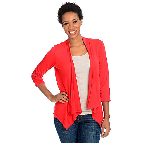 712-993 - Kate & Mallory Stretch Knit 3/4 Ruched Sleeve Lace Back Detail Cascade Cardigan Sweater