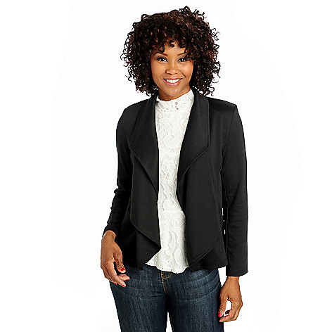 712-996 - Kate & Mallory Ponte Knit Long Sleeved Cascade Front Jacket