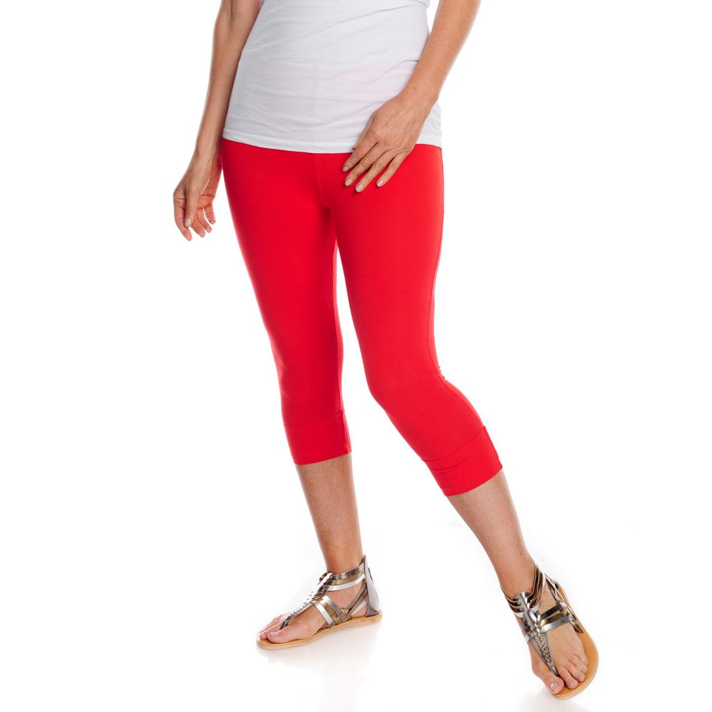712-998 - WD.NY Stretch Knit Elastic Waist Cropped Cuffed Leggings