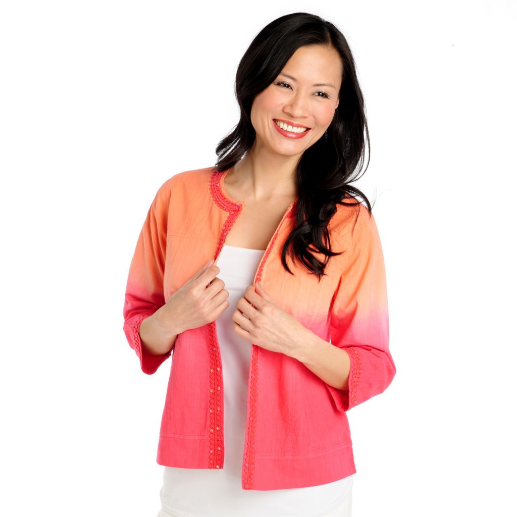 713-001 - OSO Casuals Cotton Slub 3/4 Sleeved Crochet Trim Dip-Dyed Jacket
