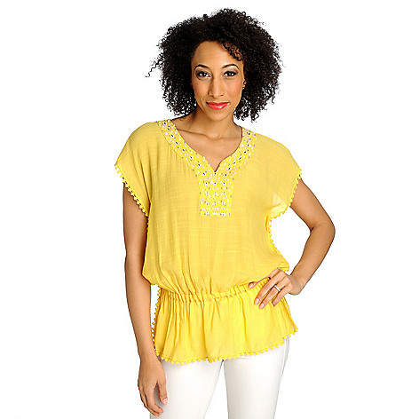 713-002 - OSO Casuals Woven Gauze Cap Sleeved Drop Waist Embellished Top