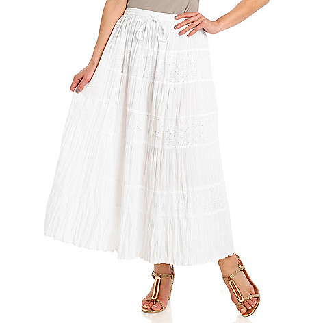 713-005 - OSO Casuals Cotton Eyelet Seven-Tier Drawstring Waist Maxi Skirt