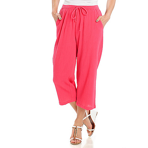 713-009 - OSO Casuals Cotton Gauze Drawstring Waist Slash Pocket Capri Pants