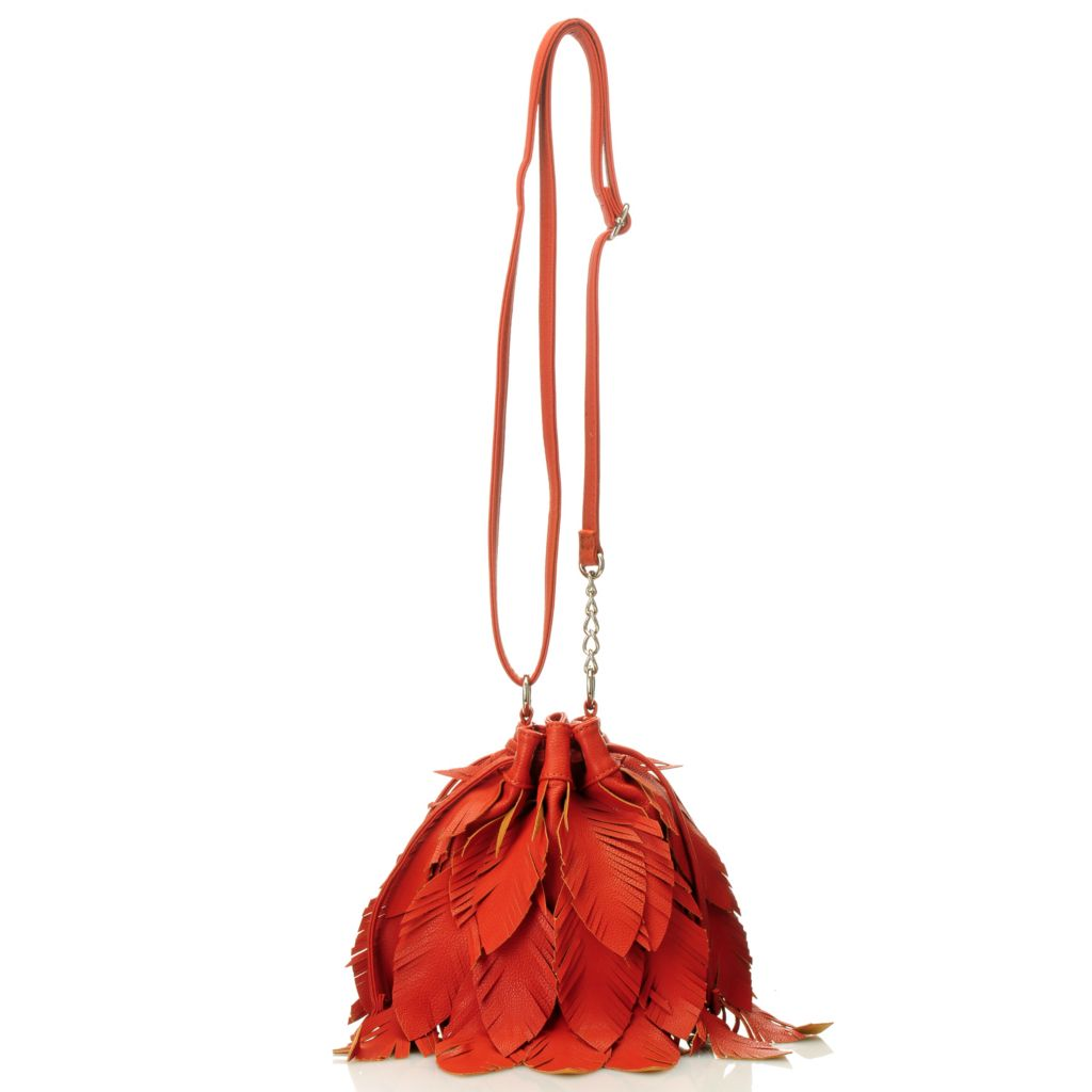 "713-013 - Carlos by Carlos Santana ""Pluma"" Feather Design Drawstring Cross Body Bag"