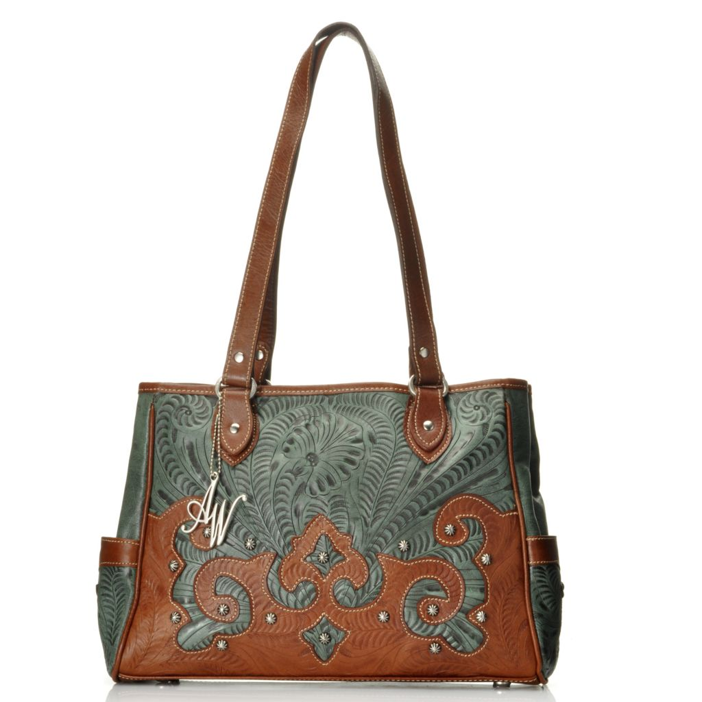 713-020 - American West Hand-Tooled Leather Studded Double Handle Tote Bag