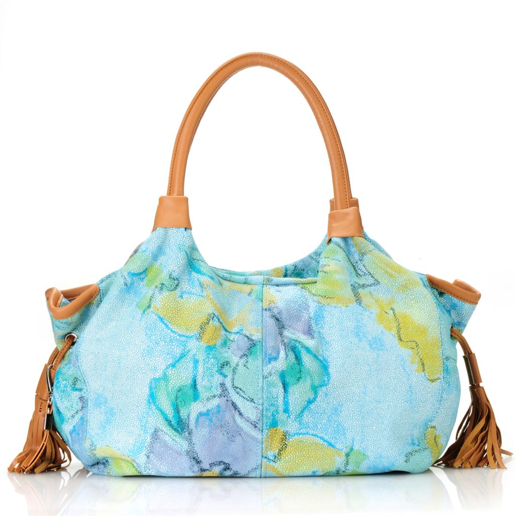 713-024 - Buxton® Leather Double Handle Floral Design Tasseled Satchel