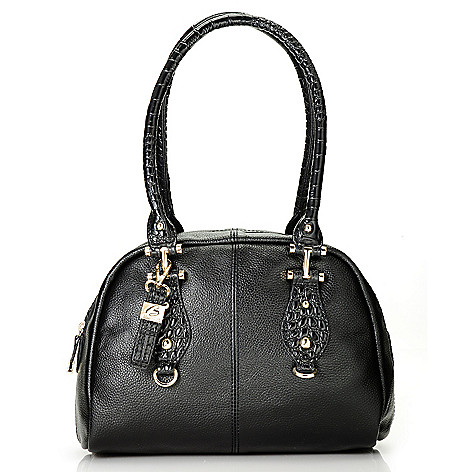 713-027 - Buxton® Leather ''Bianca'' Double Handle Zip Around Satchel