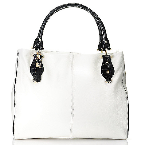 713-028 - Buxton® Leather ''Bianca'' Double Handle Tote Bag