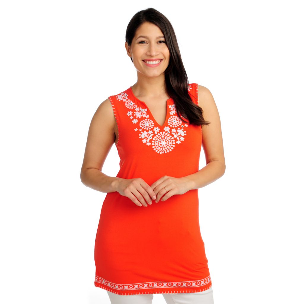 713-076 - OSO Casuals Stretch Knit Sleeveless Embroidered Tunic