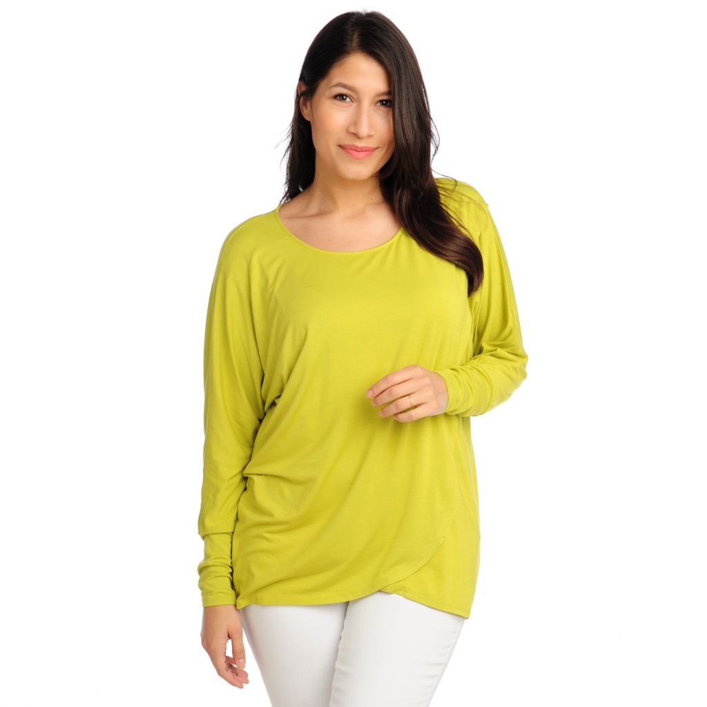 713-079 - Kate & Mallory Stretch Knit Dolman Sleeved Tulip Hemmed Top
