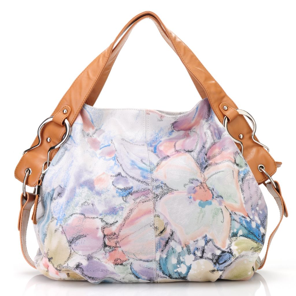 713-084 - Buxton® Leather Double Handle Floral Design Large Hobo Handbag