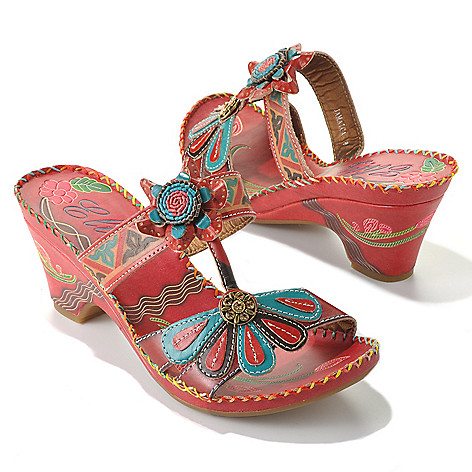 713-126 - Corkys Elite ''Jamaica'' Leather Hand-Painted Slip-on Demi Heel Flower Sandals