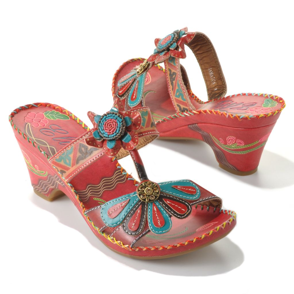 "713-126 - Corkys Elite Hand-Painted Leather ""Jamaica"" Slip-on Demi Heel Flower Sandals"