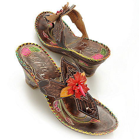 713-128 - Corkys Elite Hand-Painted Leather ''Jackson'' Slip-on Flower Thong Sandals