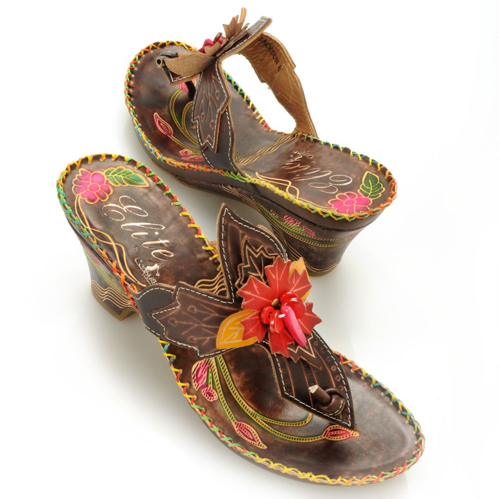713-128 - Corkys Elite Hand-Painted Leather Slip-on Flower Thong Sandals