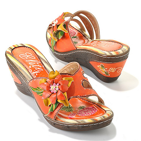 713-129 - Corkys Elite Hand-Painted Leather ''Watsonia'' Slip-on Flower Wedge Sandals