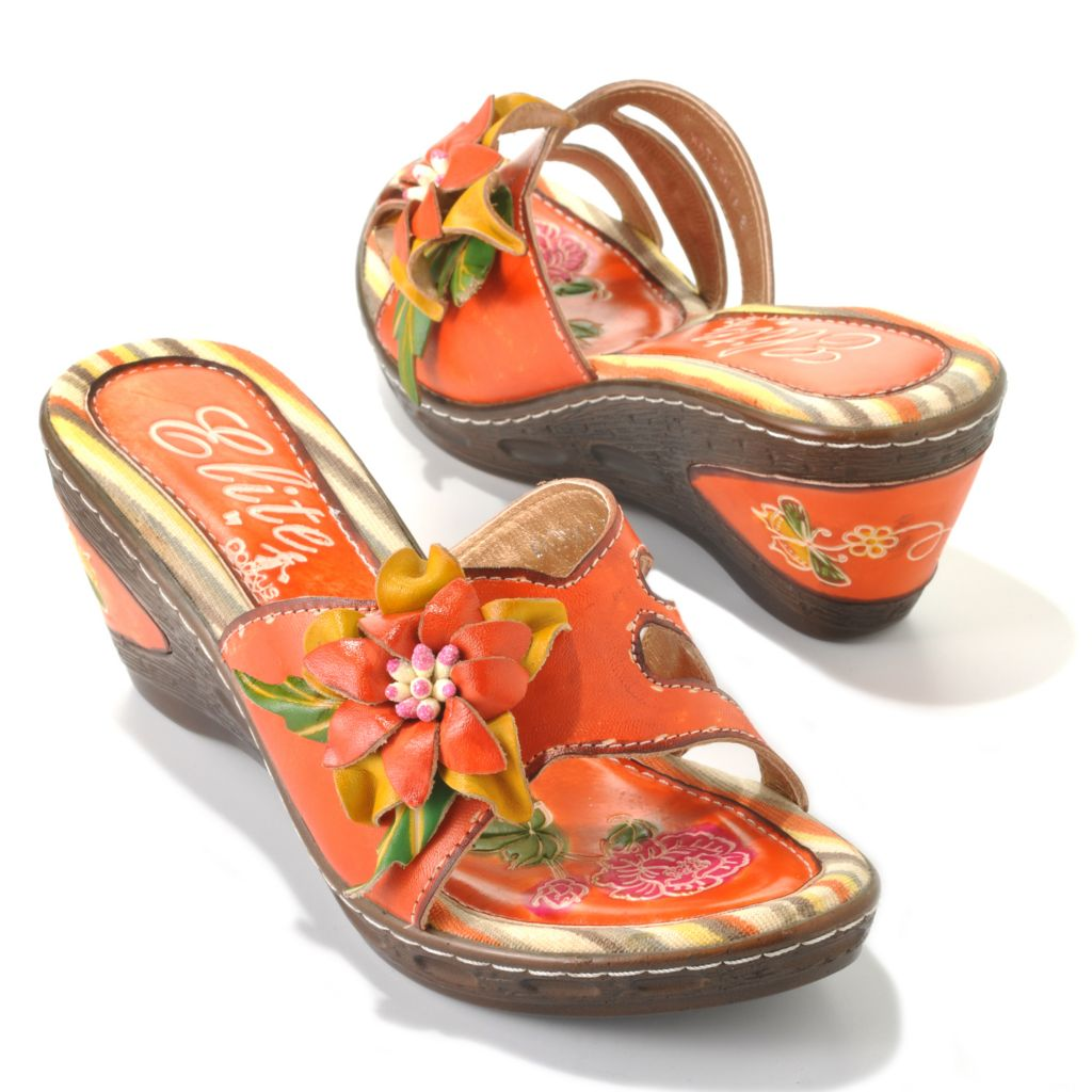 713-129 - Corkys Elite Hand-Painted Leather Slip-on Flower Design Wedge Sandals